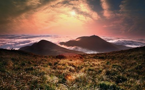 Picture sunset, fog, hills, field