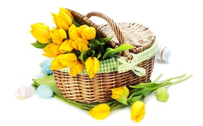 Wallpaper holiday, eggs, bouquet, tulips, tulips, Easter, eggs, holiday, bouquet, basket, basket, tulip, Easter