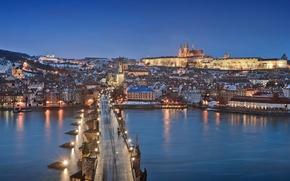 Picture lights, Prague, blue hour, cityscape, Czech Republic