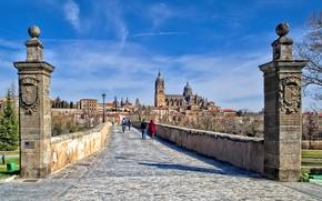 Picture Roman bridge, Cathedral, home, Spain, Salamanca