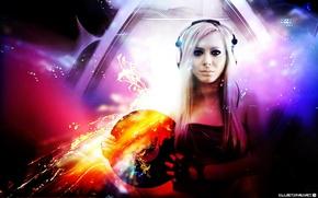 Wallpaper girl, music, disk