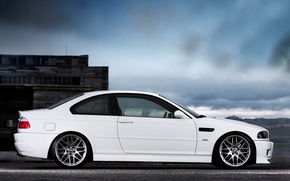 Picture white, the sky, clouds, the building, bmw, BMW, coupe, profile, white, sky, clouds, e46