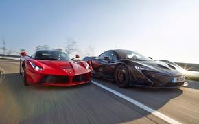 Picture McLaren, Ferrari, Red, Sky, Power, Speed, Front, Black, Sun, Supercars, Road, LaFerrari, Lead, Moutian