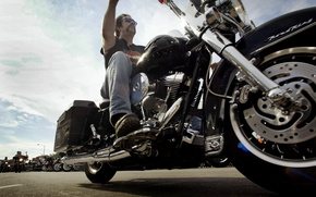 Picture motorcycle, biker, Harley Davidson