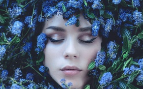 Picture eyes, girl, flowers, face, gently
