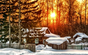 Picture winter, the sky, clouds, snow, landscape, nature, house, sunrise