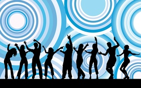 Picture girl, circles, background, people, blue, black, fun, male, dancing, silhouettes, dance, texture