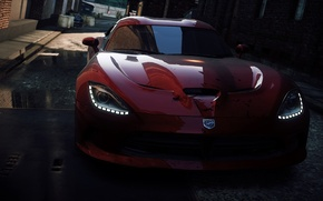 Picture the city, race, lights, alley, need for speed most wanted 2, Dodge Viper SRT-10
