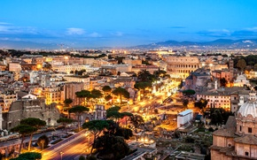 Wallpaper panorama, home, street, Rome, Italy, the evening, lights