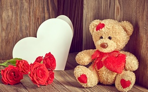 Picture love, flowers, roses, bear, love, bear, heart, romantic, Valentine's day, roses, Teddy
