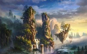 Picture clouds, trees, landscape, mountains, birds, fog, rocks, island, waterfall, art, columns
