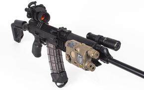 Picture weapons, machine, flashlight, optics, shop