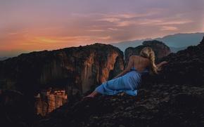 Wallpaper pose, back, girl, dress, sunset