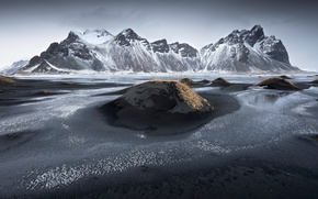 Picture mountains, shore, Iceland