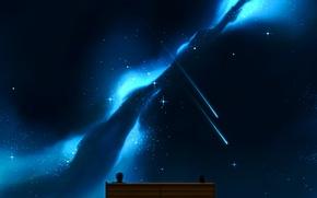 Wallpaper the sky, girl, stars, bench, night, anime, art, guy, two, craft ghost