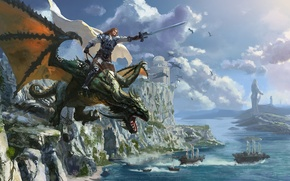 Picture sea, castle, rocks, dragon, ships, sword, warrior, art, rider, cloak