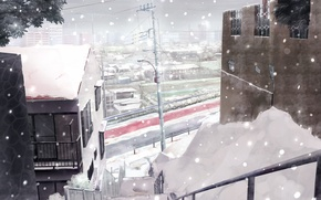 Picture winter, road, snow, the city, Japan, home, ladder, Japan winter
