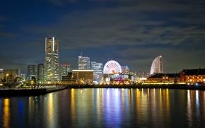 Picture night, the city, lights, Japan, Yokohama