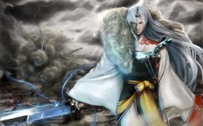Picture look, death, magic, lightning, sword, katana, warrior, destruction, battle, kimono