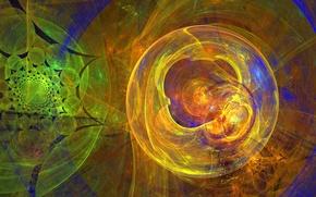 Picture circles, abstraction, background, Wallpaper, figure, ball, cloud, haze, fractal