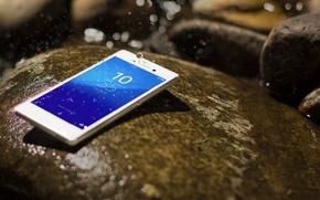 Picture Smartphone, Sony, Drops, Xperia, Aqua, Stone, White, Android, Water