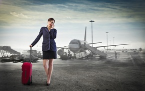 Wallpaper the sky, woman, skirt, phone, airport, jacket, the plane, call, bag