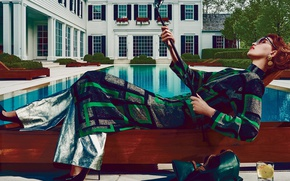 Picture pose, pool, makeup, garden, dress, glasses, hairstyle, shoes, cocktail, lies, handbag, sunbed, mansion, redhead, photoshoot, …