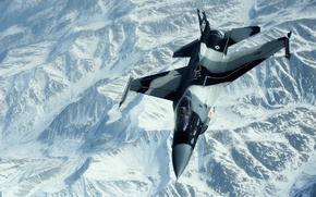 Wallpaper BACKGROUND, FLIGHT, COLORS, FIGHTER, MOUNTAINS