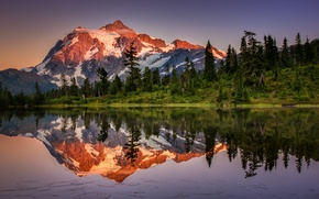 Picture forest, the sky, mountains, lake, reflection, mountain