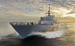 Picture Sunset, Sea, Ship, USA, US Navy, Ft. Worth (LCS 3)