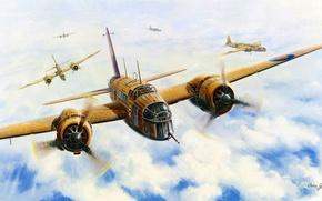 Picture aircraft, war, art, airplane, aviation, dogfight, raf, british bomber