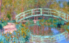 Wallpaper landscape, pond, reflection, picture, Claude Monet, Japanese Bridge