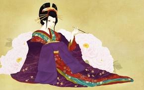 Wallpaper girl, flowers, background, art, geisha, mouthpiece, kimono, peonies