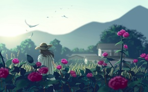 Wallpaper girl, flowers, mountains, birds, nature, hat, anime, art, nauimusuka