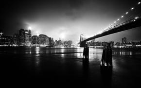 Picture night, bridge, the city, black and white photo
