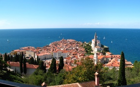 Picture sea, the city, panorama, Slovenia, Jadran, Pirani