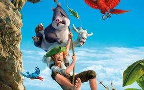 Picture cinema, animation, red, Rose, red hair, sea, ocean, bird, mountain, rocks, island, tree, cartoon, explorer, ...