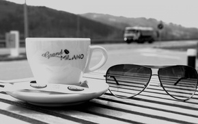 Picture table, coffee, glasses, Cup, waiting