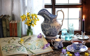 Picture flowers, tea, books, candle, window, glasses, Cup, bottle, pitcher, still life, Krokus, Narcissus, periwinkle