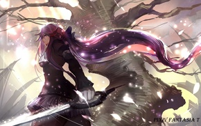 Picture girl, weapons, tree, sword, anime, art, pixiv fantasia, sishenfan