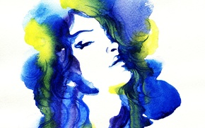Picture eyes, girl, portrait, picture, watercolor, lips, image, yellow, painting, blue, Wallpaper from lolita777