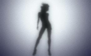 Wallpaper shadows, black, female, silhouette, Glass