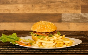 Picture hamburger, salad, sauce, french fries