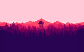 Picture white, tower, trees, pink, mountain, birds, purple, violet, salmon, lookout