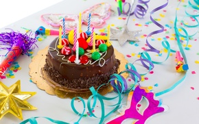 Picture candles, cake, serpentine, happy birthday, happy birthday