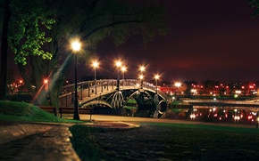 Picture night, bridge, the city, lights, channel, bridge, night, Town, canal
