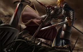 Picture grass, weapons, blood, sword, art, spear, battle, saber, fate stay night, wound, mordred
