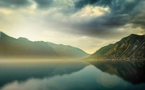Wallpaper treatment, lake, water, mountains, clouds