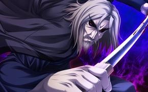 Picture magic, blood, katana, beard, the battle, red eyes, art, swordsman, visual novel, shinigami no testament, …