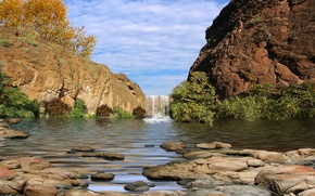 Picture the sky, grass, leaves, clouds, trees, stones, rocks, waterfall, canyon, canyon, if, VOD